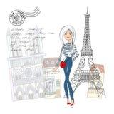 De Paris com cartão do amor Imagens de Stock Royalty Free