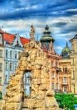De Parnasfontein op Zerny trh regelt in de oude stad van Brno, Tsjechische Republiek Royalty-vrije Stock Afbeeldingen