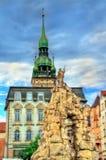 De Parnasfontein op Zerny trh regelt in de oude stad van Brno, Tsjechische Republiek Stock Afbeelding