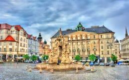 De Parnasfontein op Zerny trh regelt in de oude stad van Brno, Tsjechische Republiek Royalty-vrije Stock Afbeelding