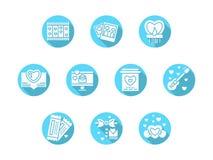 De partij blauwe ronde pictogrammen van de valentijnskaartendag royalty-vrije illustratie