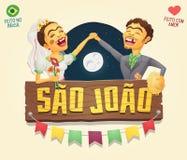 De Partij hick paar van Saojoao saint john brazilian june met hout Royalty-vrije Stock Afbeelding