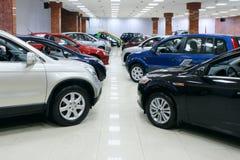 De partij van auto's voor verkoop Stock Afbeelding