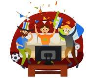 De partij van de beeldverhaalvoetbal thuis in comfortabele atmosfeer vector illustratie