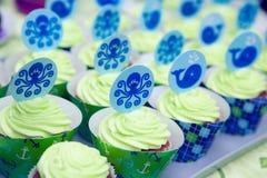 De partij van de babyjongen cupcakes Royalty-vrije Stock Foto