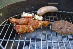 De partij van de barbecue met familie Stock Fotografie
