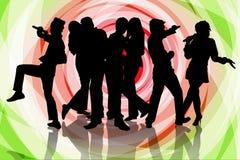 De partij van de karaoke met vriend Stock Foto