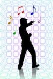 De partij van de karaoke op blauwe ruimte Stock Fotografie