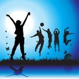 De partij van de middernacht, jonge gelukkige pe Stock Foto's