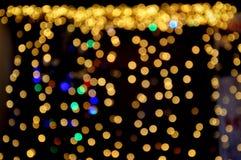 De partij van gele lichten in bokeh Royalty-vrije Stock Afbeeldingen