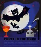 De partij van Halloween in dark Royalty-vrije Stock Afbeeldingen