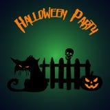 De partij van Halloween Pompoen en zombiekat onder de omheining Hallowe royalty-vrije illustratie