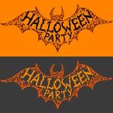 De partij van Halloween Tekst op vliegend knuppelsilhouet Stock Foto's