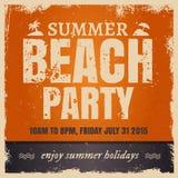De partij van het de zomerstrand in retro hete stijl met sinaasappel Royalty-vrije Stock Afbeelding