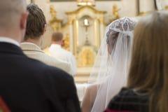 De partij van het huwelijk bij kerk royalty-vrije stock foto's