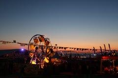 De partij van het zonsondergangstrand stock fotografie