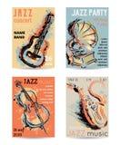 De partij van de jazzmuziek met muzikale instrumenten Saxofoon, gitaar, cello, grammofoon met de plonsen van de grungewaterverf stock illustratie
