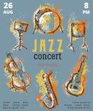 De partij van de jazzmuziek met muzikale instrumenten Saxofoon, gitaar, cello, trommeluitrusting met de plonsen van de grungewate vector illustratie