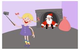 De partij van Kerstmis Santa Claus viel in de open haard Stock Foto