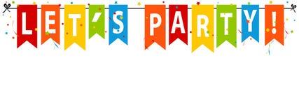 De Partij van LetÂ! Banner, Achtergrond - de Vectorillustratie van Editable Royalty-vrije Stock Fotografie