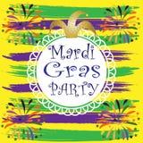 De partij van Mardigras op gele, groene en purpere achtergrond, patroon met, begroeting, witte steun met kant voor tekst, Viering vector illustratie