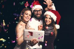 De partij van de nieuwjaar` s Vooravond selfie stock foto