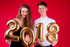 De partij van de nieuwjaar 2018 vriend ` s Royalty-vrije Stock Afbeeldingen