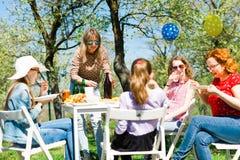 De partij van de verjaardagstuin tijdens de zomer zonnige dag - binnenplaatspicknick stock fotografie