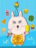 De Partij van Yummy Cat Let Royalty-vrije Stock Afbeeldingen