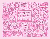 De partijachtergrond van de krabbelverjaardag Royalty-vrije Stock Afbeelding