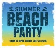 De partijaffiche van het de zomerstrand met retro blauw en Stock Afbeeldingen