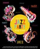 De partijaffiche van de jazzmuziek met muzikale instrumenten Saxofoon, gitaar, cello, grammofoon met de plonsen van de grungewate stock illustratie