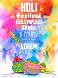 De partijbanner van DJ voor Holi-viering Stock Foto