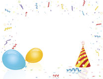 De partijhoed en ballons van de viering Stock Foto's