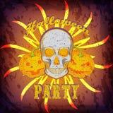 De partijkaart of affiche van Grungehalloween met schedel en pompoenen Royalty-vrije Stock Foto