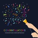 De Partijpopcornpan van de handgreep en van de gelukwensen kleurrijk tekst vectorontwerp stock illustratie