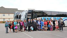 De partijtoeristen van de bus stock foto
