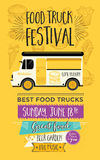 De partijuitnodiging van de voedselvrachtwagen Het malplaatjeontwerp van het voedselmenu Voedselvlieg Royalty-vrije Stock Fotografie
