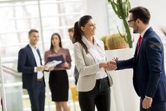 De partners analyseren de bedrijfsresultaten in modern bureau stock afbeeldingen