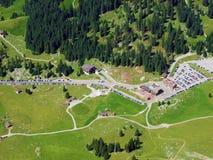 De pas of Der Schwägalppass van de Schwägalpberg stock foto's
