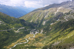 De pas Furka in de Zwitserse Alpen stock afbeeldingen