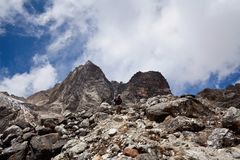 De Pas van La van Cho in Nepal Himalayagebergte royalty-vrije stock foto's