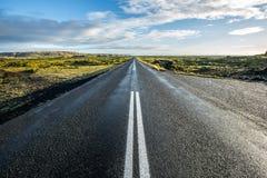 De Pas van de wegweg door Bemost Lava Rock - IJsland royalty-vrije stock afbeeldingen