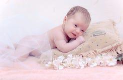 De pasgeboren baby die van het portret in hoofdkussen ligt Stock Afbeeldingen