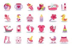 De pasgeboren geplaatste pictogrammen van het Babymeisje De uitrusting van de babydouche Royalty-vrije Stock Afbeelding
