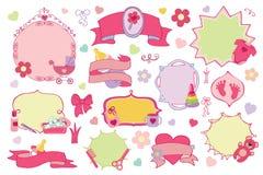 De pasgeboren kentekens van het Babymeisje, geplaatste etiketten De douche van de baby Royalty-vrije Stock Fotografie