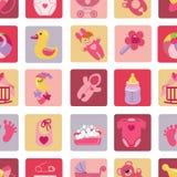 De pasgeboren pictogrammen van het Babymeisje in naadloos patroon Royalty-vrije Stock Afbeelding