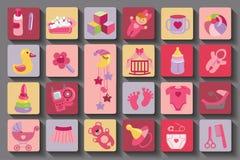 De pasgeboren reeks van het Babymeisje Vlakke Pictogrammen met lange schaduw Stock Foto