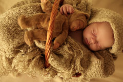De pasgeboren slaap van het babymeisje onder comfortabele deken in mand Stock Foto