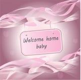 De pasgeboren van de de aankomstaankondiging van het Babymeisje roze kaart royalty-vrije stock fotografie